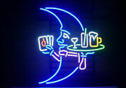 New Blue Moon Martini Cocktails Neon Sign 20x16 Real Glass Lamp Lighting Decor