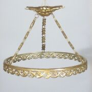 Antique French Gilded Bronze Chandelier Frame With Canopy And Chains