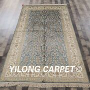 Yilong 5and039x8 Blue Handmade All Over Silk Area Rug Hand Knotted Carpet Online L42b