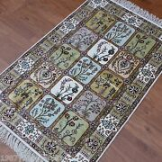 Yilong 2.5and039x4and039 Four Seasons Floral Hand Knotted Carpets Silk Handmade Rugs 348b