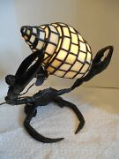Quality, Bronze Large Lobster Or Crab, With Stained Glass Sea Shell Lamp