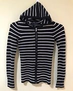 French Connection Black And White Stripe Knitted Hooded Cardigan Full Zip Sz Xs S1