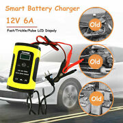 12v 6a Auto Fast Smart Lead-acid Gel Battery Charger For Car Motorcycle Lcd Usa