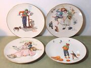 Norman Rockwell Four Seasons Plates 2-1973 And 2-1977 By Gorham China 10 1/2