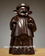 Chinese Black Rosewood Wood Auspicious Lucky Wealth Animal Pig Rich Man Statue