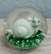 Gibson Sulfide Art Glass Snail Paperweight Amazing Rare