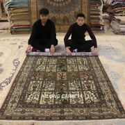 Yilong 5and039x8and039 Garden Scenes Handmade Silk Antique Rugs Hand Knotted Carpets 640b