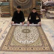 Yilong 5and039x8and039 Antique Beige Handmade Silk Area Rug Great Hand Knotted Carpet 052b