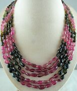 Natural Multi Tourmaline Beads Faceted Teardrops 5 Line 560cts Gemstone Necklace