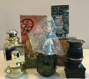 Lot 3 Vintage Avon Aftershave Bottles Auto And Oil Lanterns Pot-belly Stove