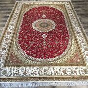 Yilong 6and039x9and039 Red Hand Knotted Area Rug Medallion Handmade Silk Carpets Y416c