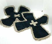 Antique Russian The Ecclesiastical Covers Silver Thread Embroidery Blue Black Ve