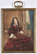 Lady Sitting At Terrace Door,english Miniature Watercolored Photograph,1850s