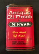 Vintage Minwax Metal Tin Can Advertising Antique Oil Finish Empty - 420