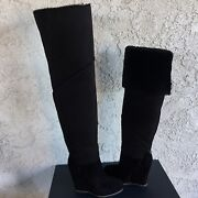 Ugg Classic Mondri Over The Knee Tall Black Suede 4 Wedge Boots Us 8 Women