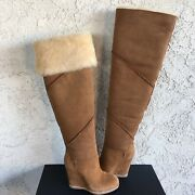 Ugg Classic Mondri Over The Knee Tall Chestnut Suede 4 Wedge Boots Us 10 Women