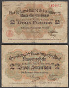 B14 Luxembourg 2 Francs L. 1914-1918 Vg Condition Banknote P-28