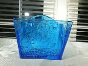 Really Cool Blue Glass Candy Container Blue Satchel Suitcase Leather Bag