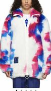 New Off-white Size Menand039s M White Faux Fur Zip Anorak Jacket 100 Authentic