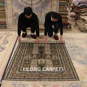 Yilong 4and039x6and039 Vintage Silk Hand Knotted Carpet Four Seasons Handmade Rugs 967b