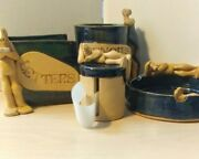 Unique Pottery Desk Set Ashtray Letter Pencil And Stamp Holder Signed 5 Pieces