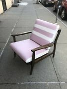 Curated Vintage Walnut Mid Century Danish Lounge Chair With New Pink Cushion