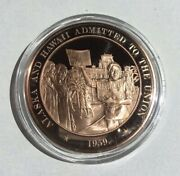 Alaska Hawaii Admitted Union History Of United States Medal Franklin Mint M-455