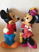 Vintage Illco Mickey And Minnie Mouse Coin Banks Walt Disney Plastic Euc Gift