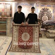Yilong 4and039x6and039 Red Silk Handmade Area Rug Dining Room Hand-knotted Carpet 073m