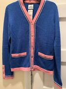 Nwt Cashmere Blue And Pink Cardigan Sweater Jacket 36