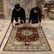 Yilong 4and039x6and039 Red Silk Hand Knotted Carpets Classic Medallion Handmade Rugs Y88b
