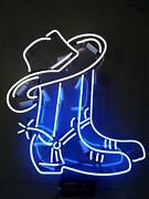 Cowboy Boot Hat Acrylic Neon Sign 20x16 Real Glass Decor Light Beer Bar Wall