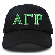 Alpha Gamma Rho Fraternity Greek Letters Ball Cap Embroidered Hat Black