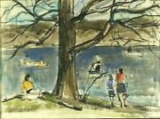 Listed Russian Ny Artist N Cikovsky Sd Orig Watercolor Central Park Lake