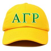Alpha Gamma Rho Fraternity Greek Letters Ball Cap Embroidered Hat Gold