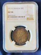 1917 Canada 50 Cent King George V Silver Coin, Ngc Au-58, Key Date Low Mintage