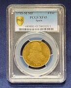 1795-m Mf Spain Gold 4 Escudos Pcgs Xf-45 Great Problem Free Colonial Gold Coin