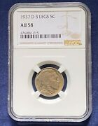 1937-d 3-legged Buffalo Nickel Ngc Au-58, Key Date,great Resubmission Candidate