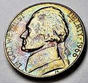1966 Jefferson Nickel Sms Proof Bu Beautiful Toned Blue Green Color Unc Dr