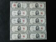 Lot Of 10 5 Us Legal Tender Notes Red Seal 1928 1953 1953a 1953b 1963