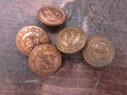 Antique Vintage Metal Buttonsandnbspnavy Marines Lot Of 5 Small Size Anchor Gold