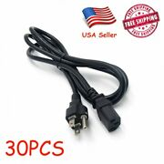 Lot Of 30 Pc 3-prong Iec Power Universal Cable Plug Lcd Crt Monitor 6 Feet 20pcs