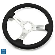 1964-1988 Gm Cars Steering Wheel Black Leather With Brushed Silver Spokes 14