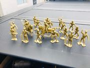 New Old Vintage Marx Plastic Medieval Knights Gold Figures Lot Of 200
