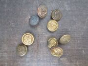 Antique Vintage Metal Buttonsandnbspnavy Marines Lot Of 9 Small Size Anchor Gold
