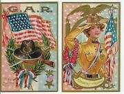 2 Grand Army Of The Republic Civil War Patriotic Decoration Day Postcards
