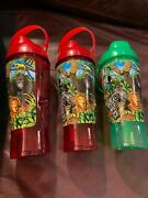 Lot Of 3 Dallas Zoo Wilds Of Africa Large Drink Straw Bottles 2 Red 1 Green