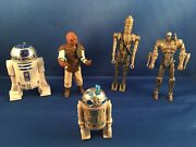 Lot Of 5 Vintage Star Wars Figures Lfl 1977 1980s 1990s 2007 R2d2 Weequay Droid