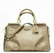 Authentic Coach Madison Collection Python Toffee Carrie 22343 With Gold Accent