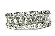 Cjl Preowned 14k White Gold 3 Row Diamond Band Ring
